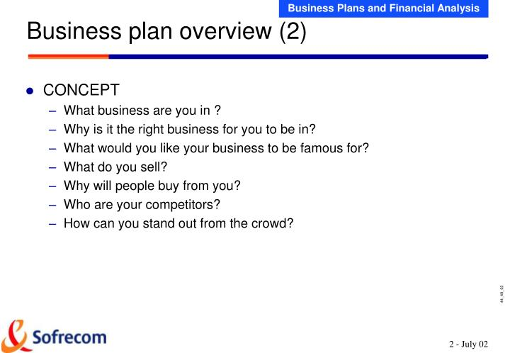 Business plan overview 2