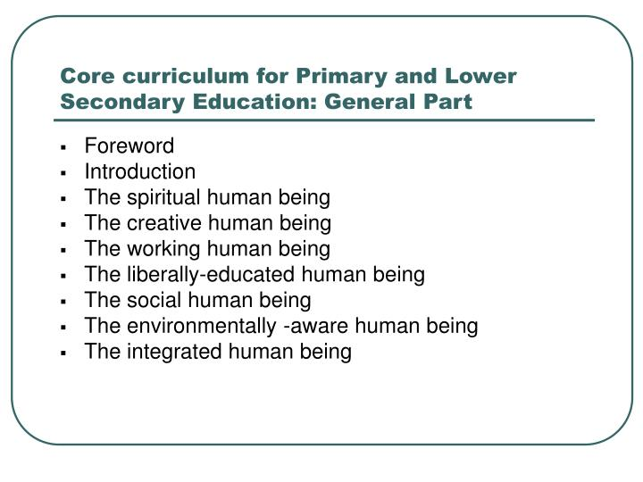 Core curriculum for Primary and Lower Secondary Education: