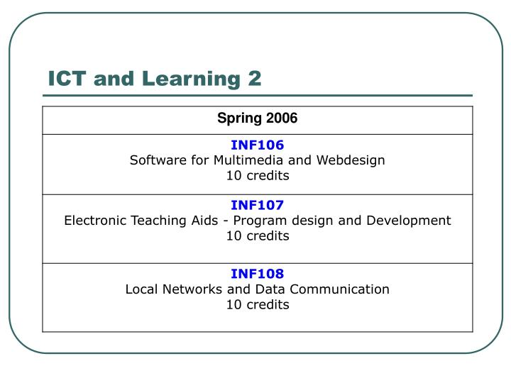 ICT and Learning 2