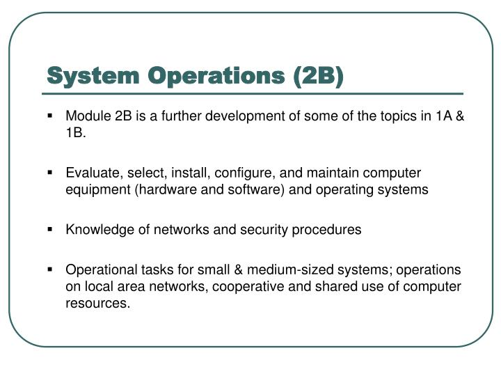 System Operations (2B)