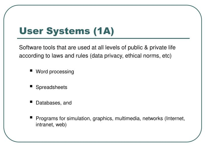 User Systems (1A)