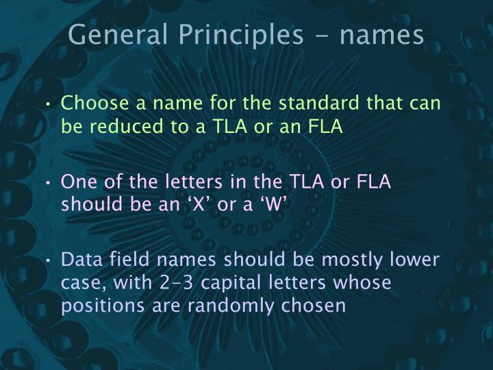 General Principles - names