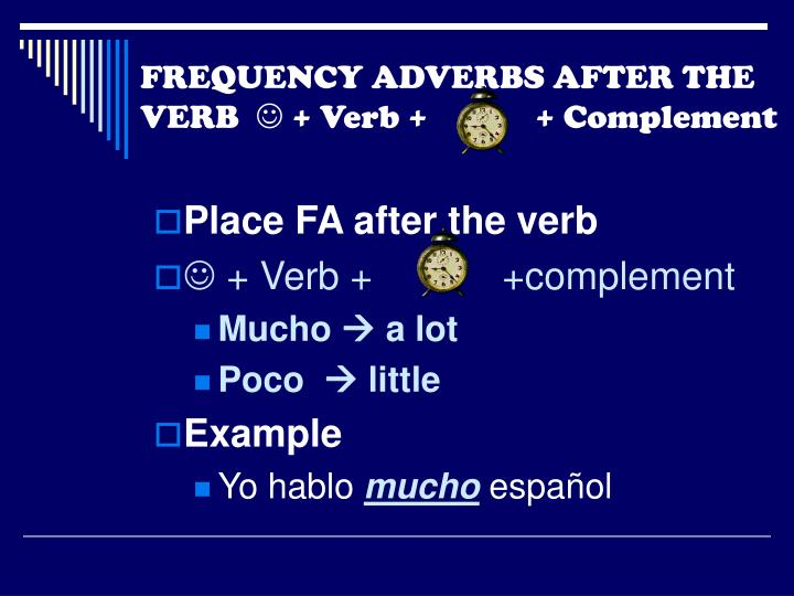 FREQUENCY ADVERBS AFTER THE VERB
