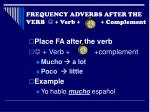 frequency adverbs after the verb verb complement