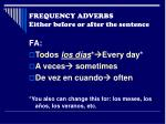 frequency adverbs either before or after the sentence