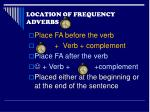 location of frequency adverbs