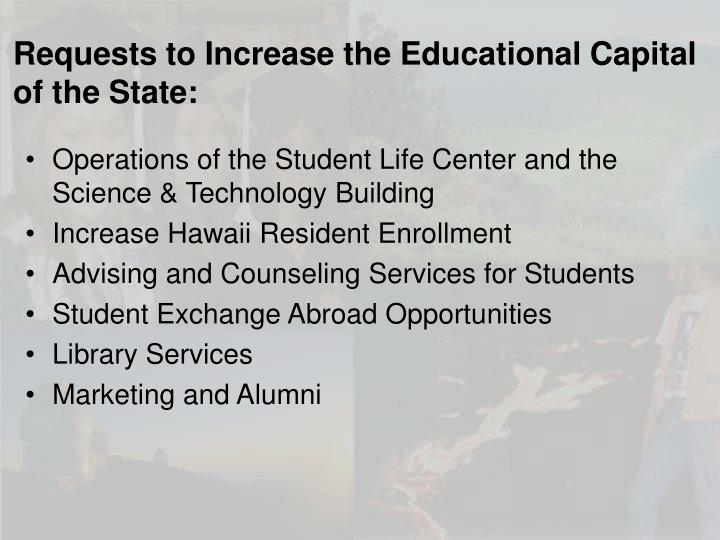 Requests to Increase the Educational Capital of the State: