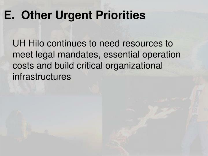 E.  Other Urgent Priorities