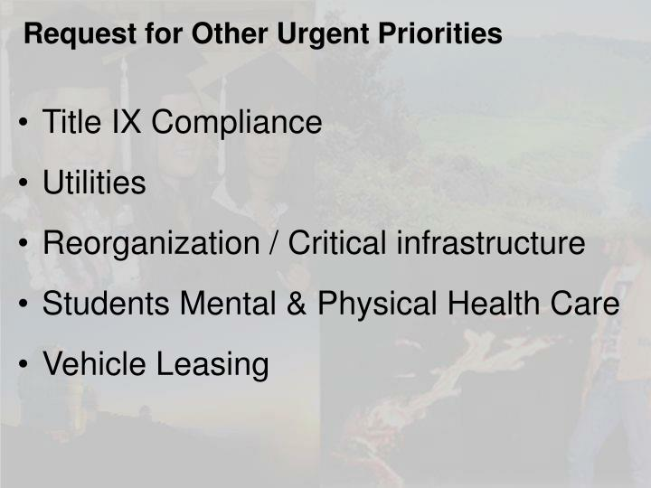 Request for Other Urgent Priorities