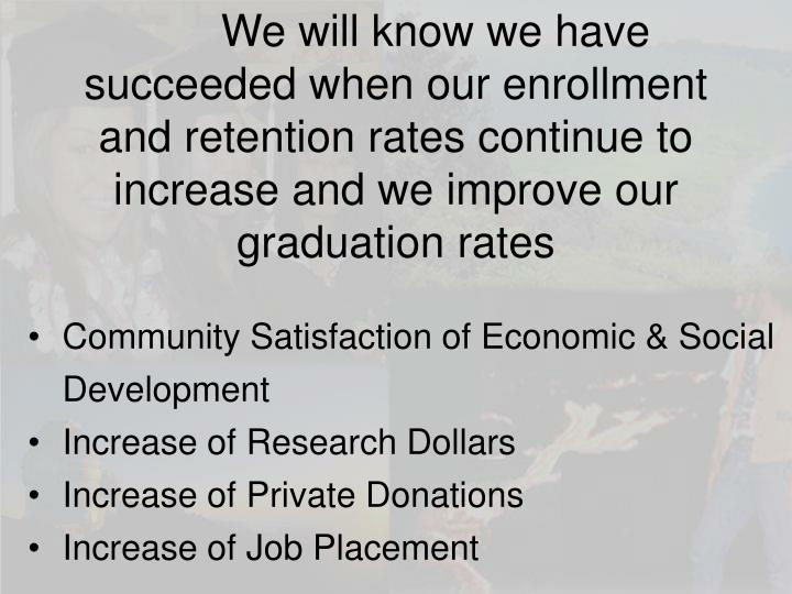 We will know we have succeeded when our enrollment and retention rates continue to increase and we improve our graduation rates