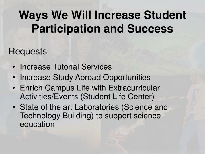 Ways We Will Increase Student Participation and Success