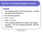 system of prepackages control11