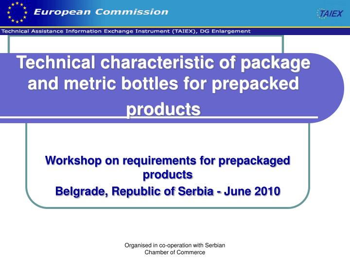 technical characteristic of package and metric bottles for prepacked products