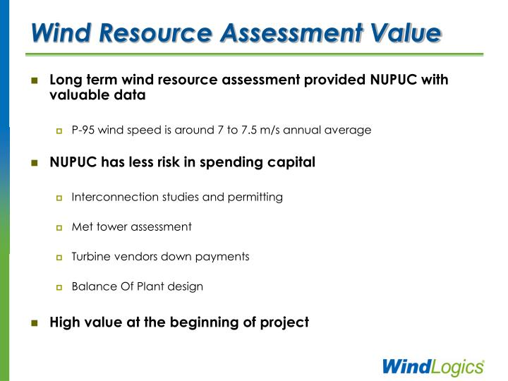 Wind Resource Assessment Value