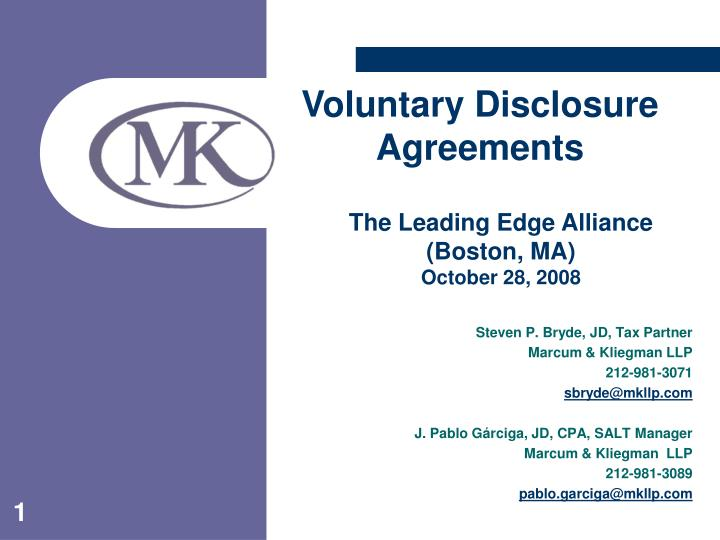 Voluntary Disclosure Agreements
