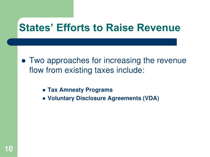 States' Efforts to Raise Revenue