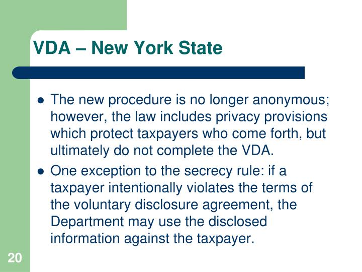VDA – New York State