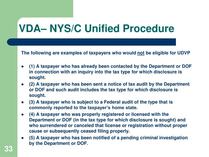 VDA– NYS/C Unified Procedure