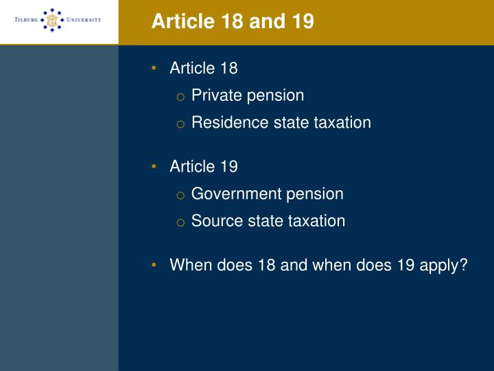 Article 18 and 19