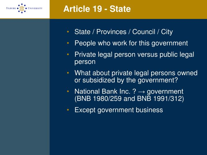 Article 19 - State
