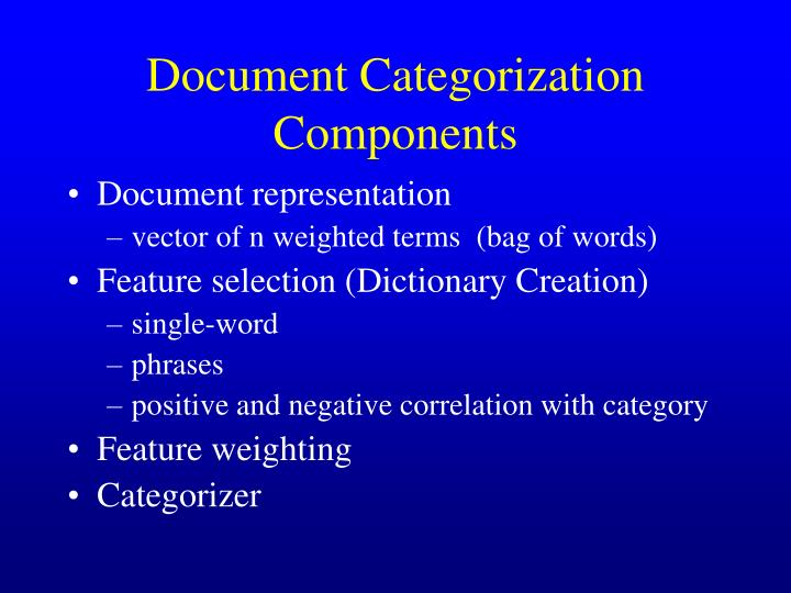 Document Categorization Components