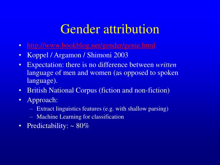 Gender attribution