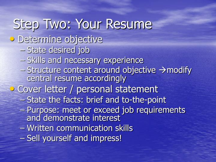 Step Two: Your Resume