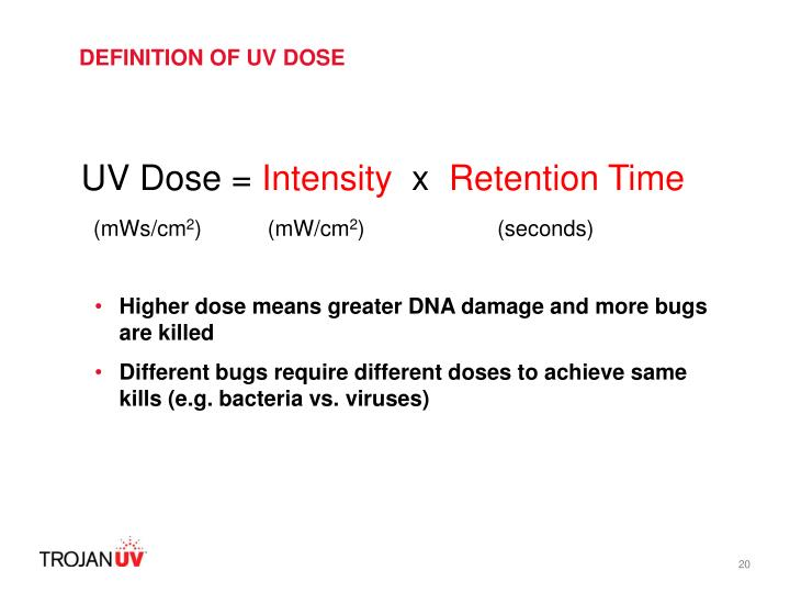 DEFINITION OF UV DOSE