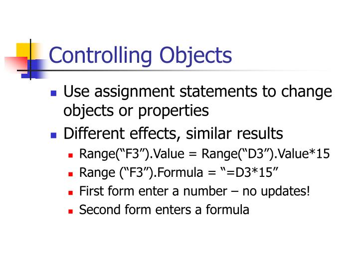 Controlling Objects