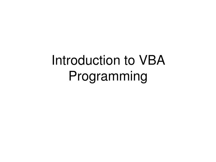 introduction to vba programming