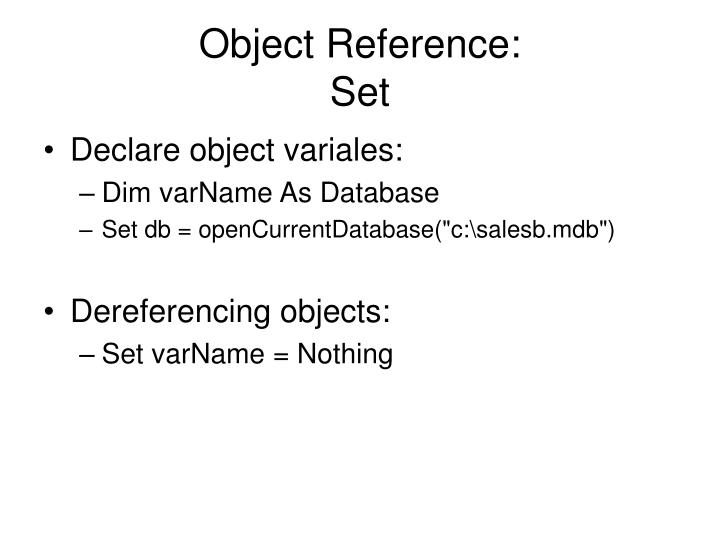 Object Reference: