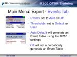 main menu expert events tab