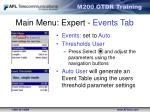 main menu expert events tab1