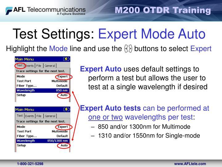 Test Settings: