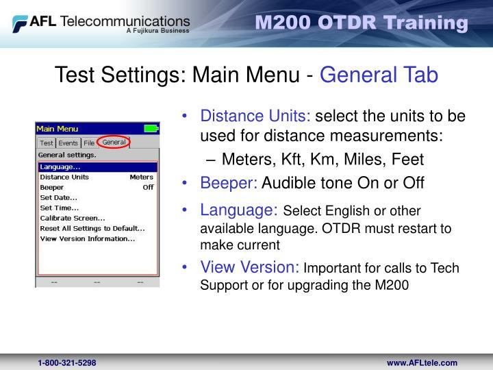 Test Settings: Main Menu -