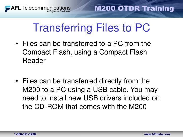 Transferring Files to PC