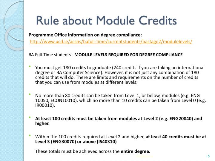 Rule about Module Credits