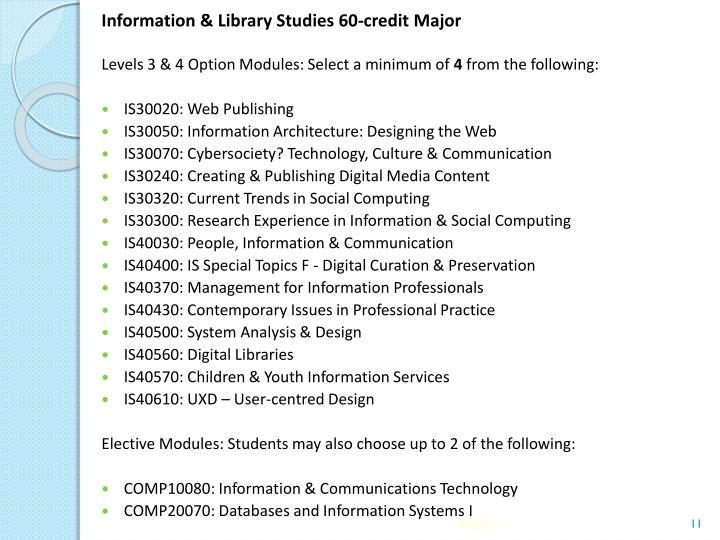 Information & Library Studies 60-credit Major
