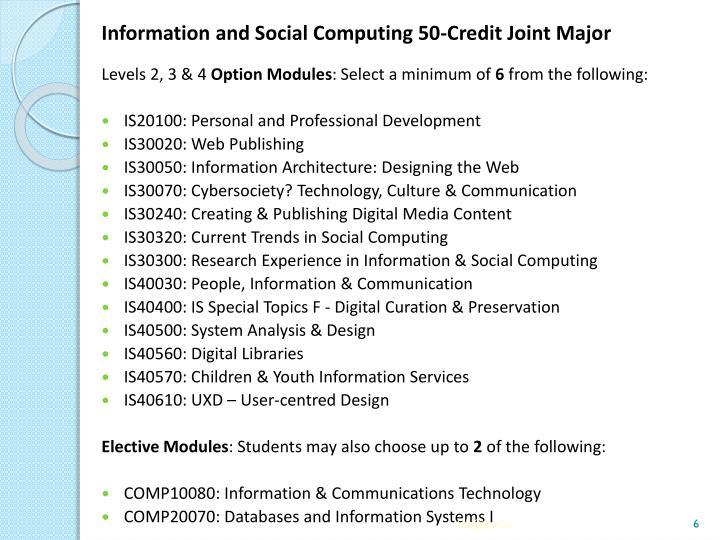 Information and Social Computing 50-Credit Joint Major