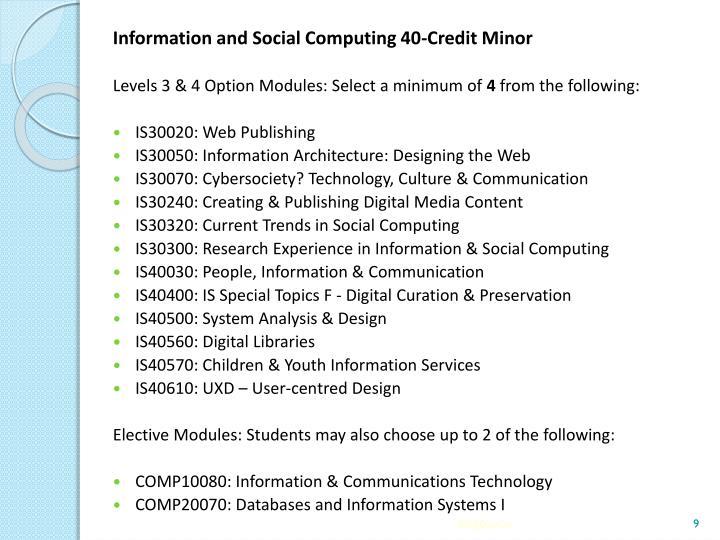Information and Social Computing 40-Credit Minor