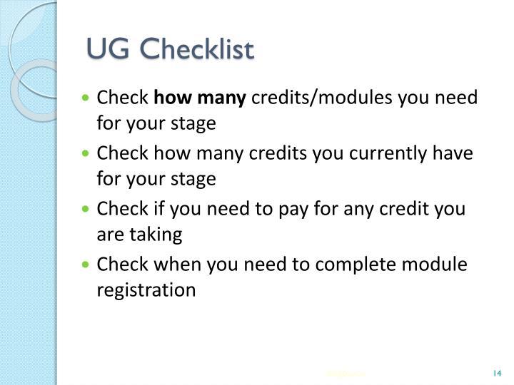 UG Checklist