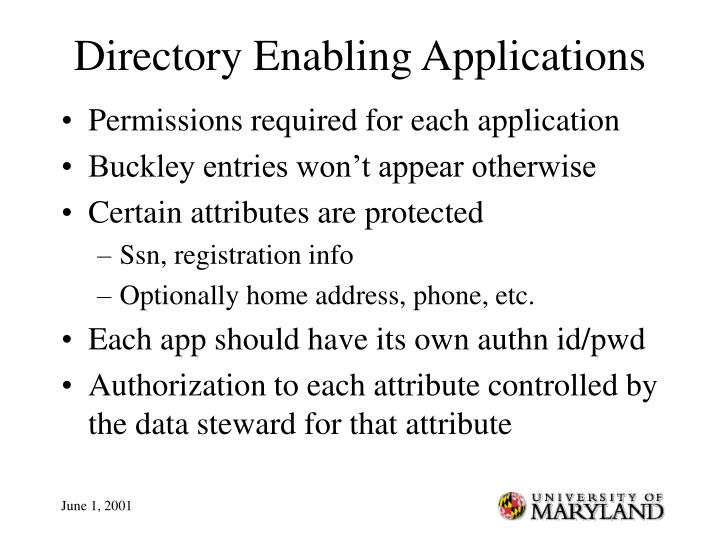 Directory Enabling Applications