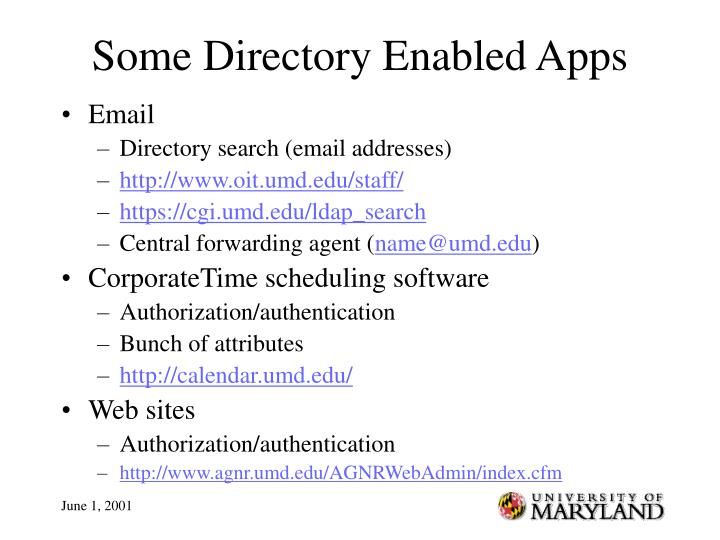 Some Directory Enabled Apps