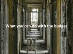 what you can do with the budget