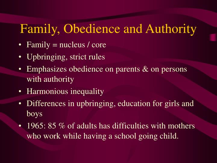 Family, Obedience and Authority