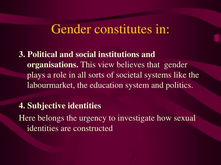 Gender constitutes in:
