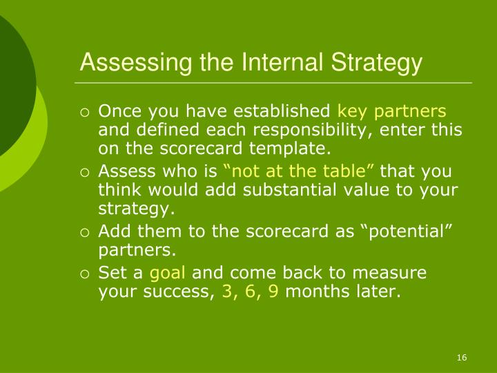 Assessing the Internal Strategy