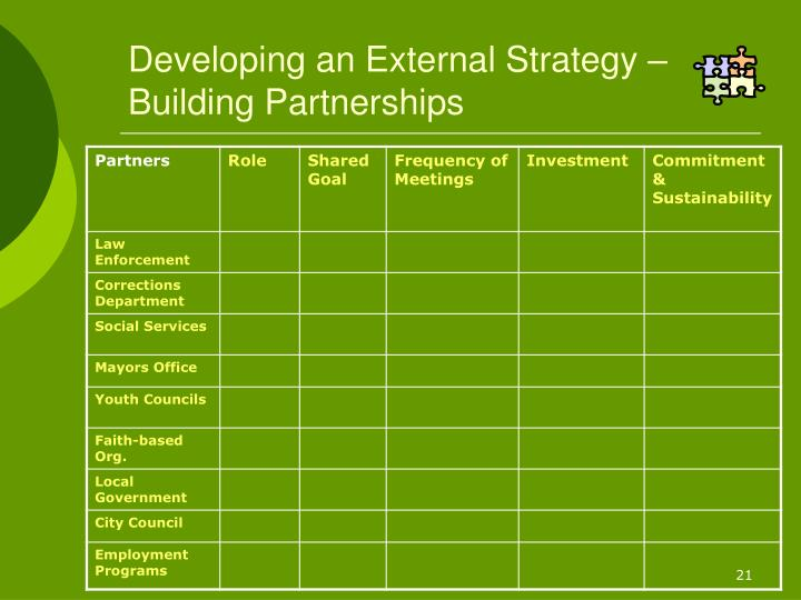 Developing an External Strategy – Building Partnerships