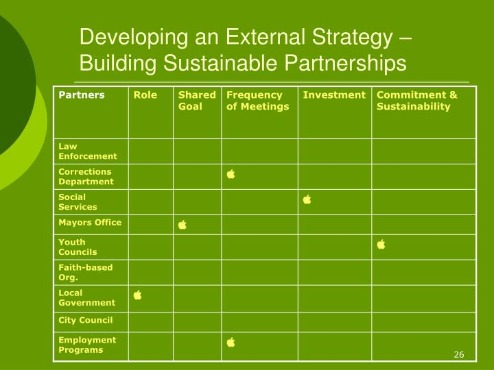 Developing an External Strategy – Building Sustainable Partnerships