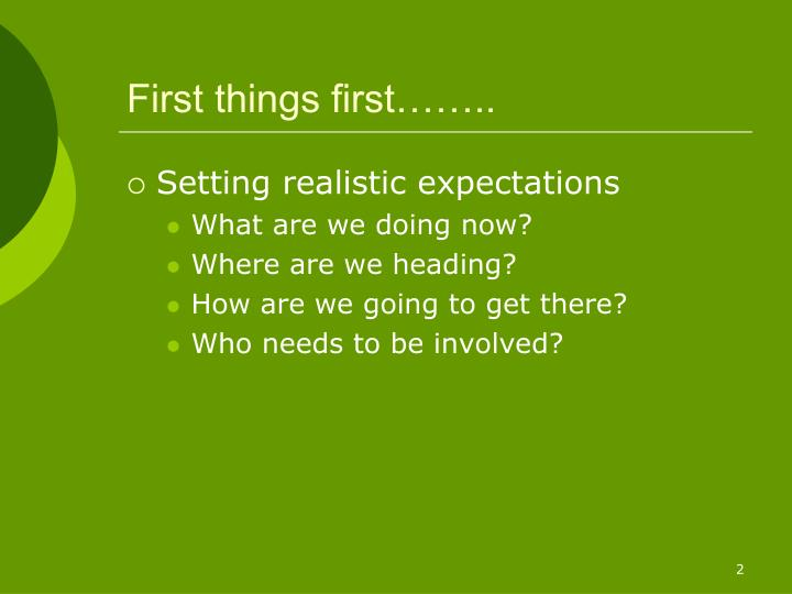 First things first……..